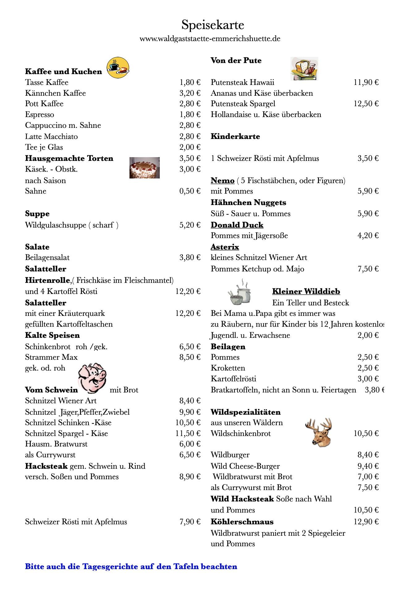 Waldgaststätte Emmerichshütte - Speisekarte April 2021